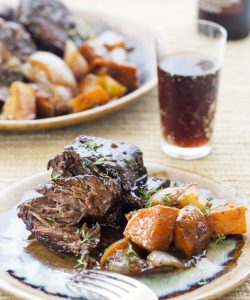 Root Beer Braised Beef Short Ribs with Roasted Root Vegetables
